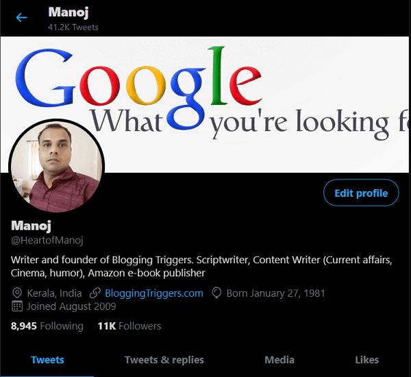 Twitter dark mode desktop