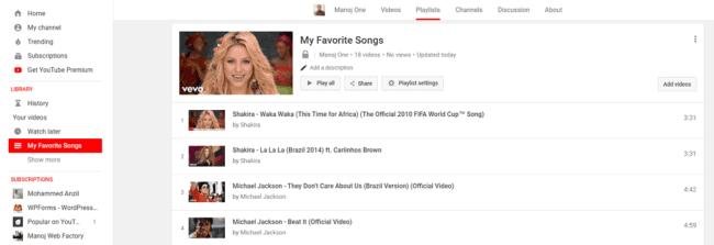 YouTube playlist videos