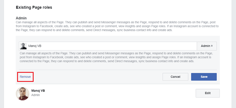 Remove an admin from a Facebook page