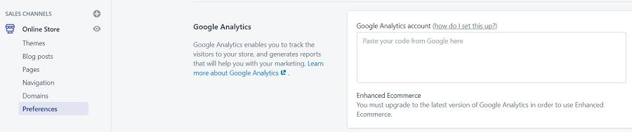 Shopify analytics tracking code
